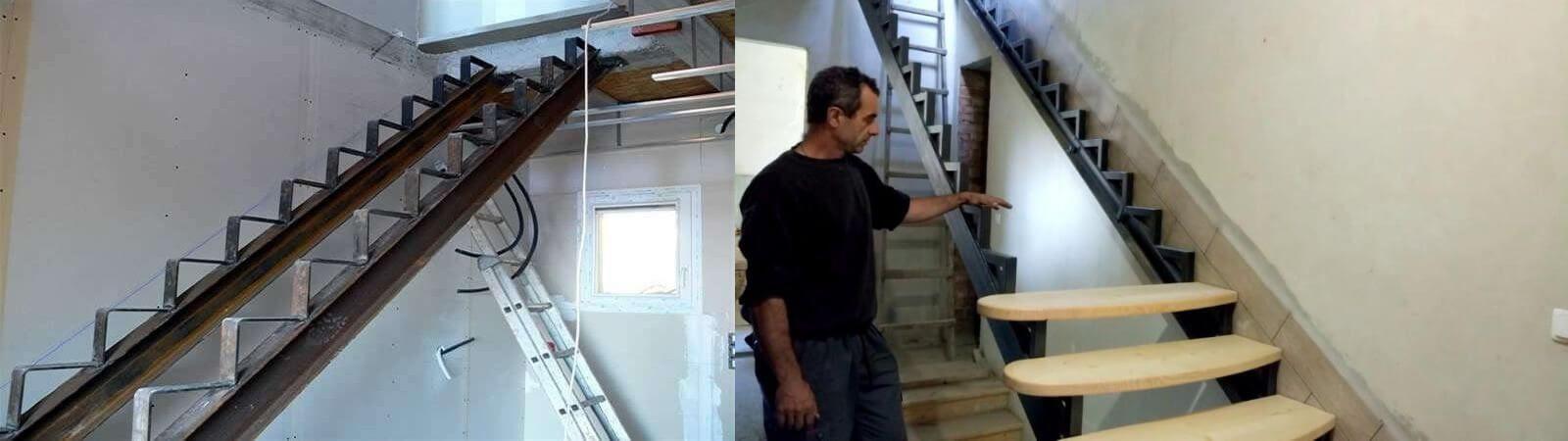 Отделка металлической лестницы деревом и другими материалами